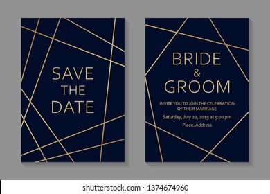 Wedding invitations design or greeting card templates with modern golden geometric borders on a navy blue background.