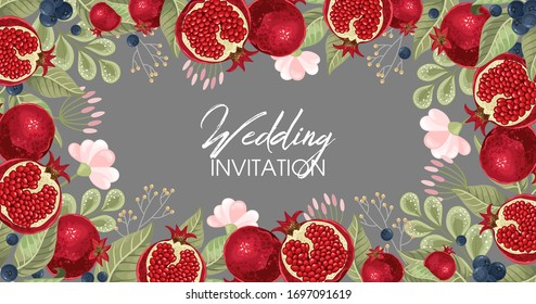 Wedding invitations with pomegranate and leaves. Composition for a wedding or greeting card. Design element for wedding,  birthday, natural and eco cosmetics. Can be used for a poster, invitation , or