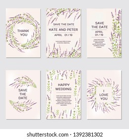 Wedding invitations. Romantic tender elegant floral design for wedding invitation with lavender flowers, save the date and thank you cards. With place for text. illustration - vector