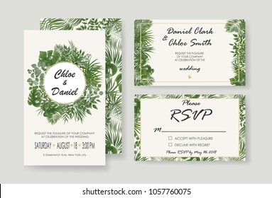 Wedding Invitations, RSVP modern card design. watercolor, Botanical, natural style. save the date card design with leaves, fern. set of vector invitation cards with patterns of green leaves in rustic