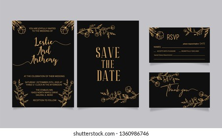 Wedding Invitations, with  rsvp and thank you card