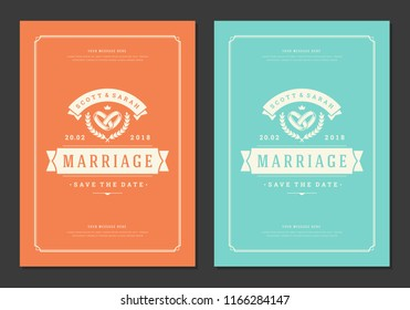 Wedding invitations save the date cards design vector illustration. Wedding invite title vintage templates.