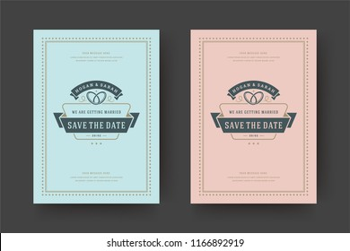 Wedding invitations save the date cards design vector illustration. Wedding invite title vintage templates. Golden style.