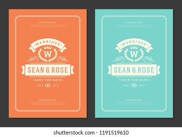 Wedding invitations save the date cards design vector illustration. Wedding invite title vintage templates.