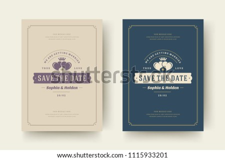 wedding invitations save date cards design stock vector royalty