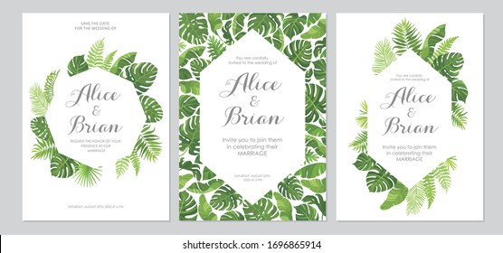 Wedding invitations set. Cards with tropical green leaves design. Floral geometric border. Vector illustration.