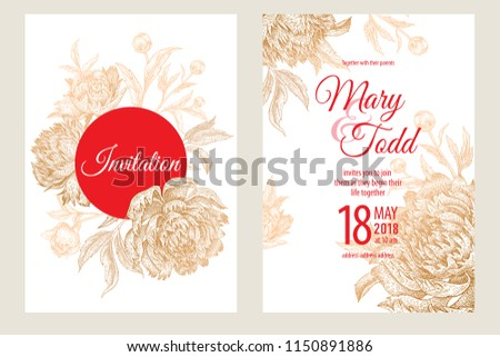 wedding invitations set templates decoration cards stock vector