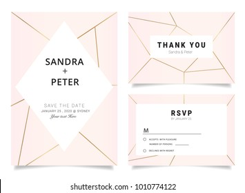 Wedding Invitations set ,Thank you card, RSVP design with rose gold geometric shape pattern