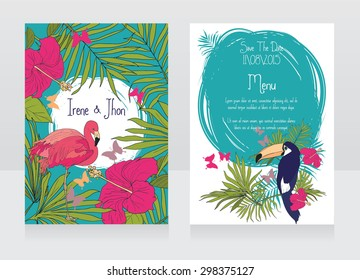 wedding invitations in tropical style with birds, hibiscus flowers and butterflies, vector illustration