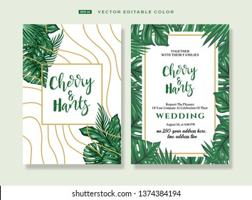 Wedding invitations in tropical style. Decorated with gold lines and white background. Cards for celebration. The design is editable. Tropical plant. - Vector