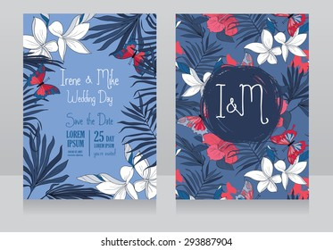 wedding invitations in tropical style with hibiscus flowers and butterflies, vector illustration