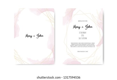 Wedding invite with abstract watercolor style decoration in light tender dusty pink color on white background.