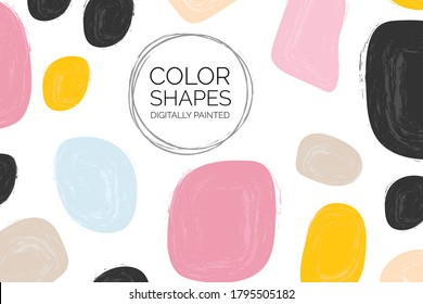 Wedding invite background. Set of watercolor shapes. Color splashing and floral hand drawn vectors. Abstract Shapes and print graphics. Vector hand drawn shapes.