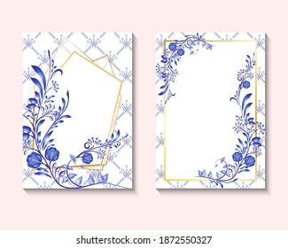 Wedding invite card design with blue color flowers leaves flourishes and golden geometric rhombus frame Delicate beauty invitation layout in national painting on porcelain style. Vector illustration