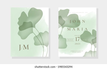 Wedding invite cards template with realistic transparent Ginkgo leaves and watercolor blot in rustic style. Save the date Card vector design template.