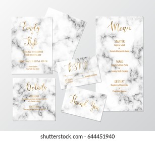 Wedding invite design set with marble texture and gold including invitation, menu, RSVP, thank you and details card.