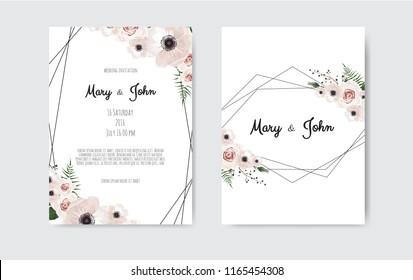 Wedding invite, invitation. Botanical wedding invitation card template design, white and pink flowers. Vector template set