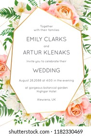 Wedding invite, invitation card floral design. Garden pink peach garden Rose flower, white Magnolia flowers, forest greenery, green fern leaves & golden geometrical frame. Elegant luxury vector layout