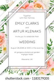 Wedding invite invitation card floral design. Garden pink peach garden Rose flower, white Magnolia flowers, forest greenery, green eucalyptus leaves & modern stripe decoration. Elegant vector template