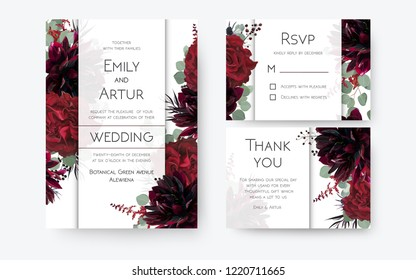 Wedding invite, invitation card, rsvp, thank you cards floral design. Vintage Red rose flowers, burgundy dahlia, eucalyptus silver greenery branches, berries decoration. Bohemian boho chic stylish set