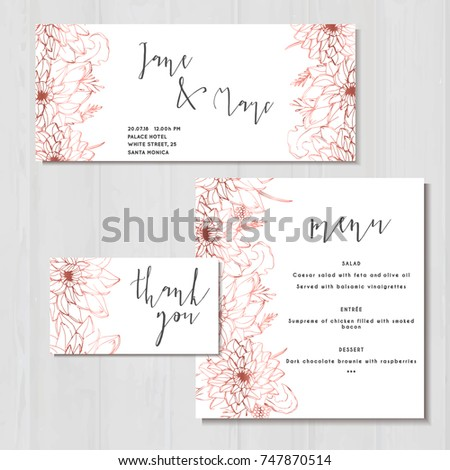 wedding invite invitation menu templates thank のベクター画像素材