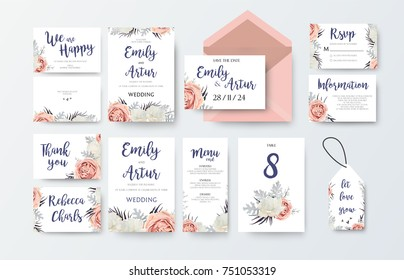 Wedding invite, invitation menu, thank you, rsvp, label card vector floral design with pink peach garden Rose white peony flower, agonis dusty miller leaves pattern. Watercolor elegant big set