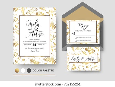Wedding invite, invitation rsvp postcard vector stylish chic floral design; golden foil print pattern of forest leaves, palm, fern fronds, eucalyptus branches, herbs mix. Luxury, printable elegant set