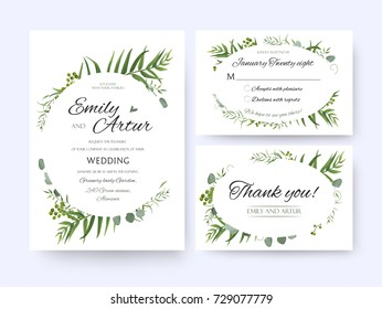 Wedding invite, invitation rsvp thank you card vector floral greenery design: Forest fern frond, palm leaf Eucalyptus branch green berries, foliage herbs elegant oval frame border. Watercolor cute set