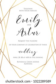 Wedding invite, invitation save the date card delicate design with elegant vector golden foil geometrical linear decorative art frame, border. Beautiful abstract concept. Trendy modern luxury template