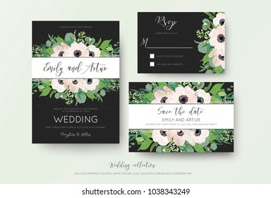 Wedding invite, invitation, save the date, rsvp thank you cards design. Green watercolor style light pink anemone flowers, eucalyptus leaves, white lilac flowers, cute greenery on dark grey backgorund