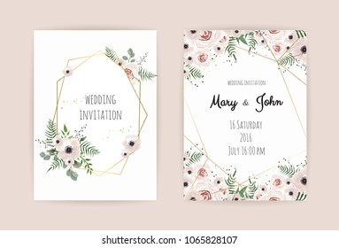 Wedding invite, invitation, save the date card design with elegant pink rose and anemone,branches leaves, cute golden geometrical pattern. Vector template set