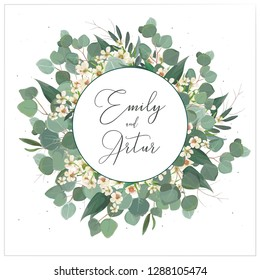 Wedding invite, invitation, save the date card floral design. Wreath monogram with silver dollar eucalyptus greenery leaves, green branches and creamy wax flowers decoration. Beautiful modern template