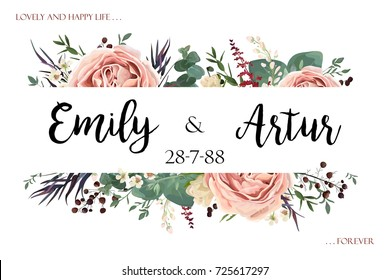 Wedding invite invitation save the date card floral watercolor style design: Lavender antique pink garden Rose Eucalyptus, agonis leaf herb berry frame border. Vector boho vintage postcard, copy space