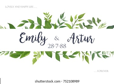 Wedding invite, invitation, save the date card Design with green leaves greenery eucalyptus foliage forest bouquet frame. Vector rustic postcard illustration layout.