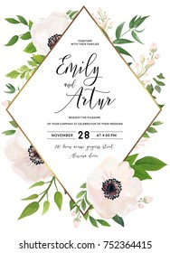Wedding invite, invitation, save the date card design: white pink Anemone poppy flower, green leaves, eucalyptus greenery foliage forest bouquet and golden rhombus frame. Vector rustic postcard layout