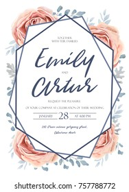 Wedding invite, invitation, save the date card design: pink peach garden rose flower, blue dusty miller leaves, fern greenery forest bouquet and geometric frame. Vector tender rustic postcard editable
