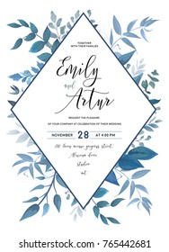 Wedding invite, invitation, save the date card design with watercolor blue color leaves, greenery forest plants, herbs & geometric rhombus frame. Vector  delicate beauty postcard editable layout