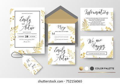 Wedding invite, invitation, thank you, rsvp, label card vector floral design; golden foil print pattern of forest leaves, palm, fern fronds, eucalyptus branch, berry herbal mix. Luxury elegant big set