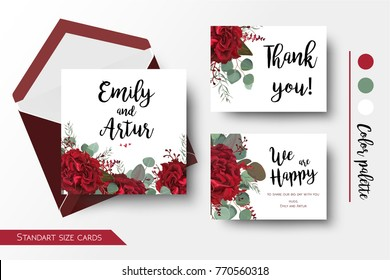 Wedding invite, invitation, thank you, greeting rsvp card set. Vector watercolor floral bouquet decorative frame design: red burgundy Rose flower, seeded Eucalyptus branch & silver blue leaves