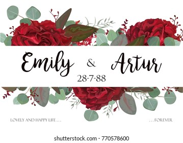 Wedding invite, invitation, thank you, greeting rsvp card. Vector watercolor  hand drawnfloral border modern design: red burgundy Rose flower, seeded Eucalyptus branch & silver, green delicate leaves