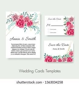 Wedding invite, invitation,save the date card design with pink rose branches leaves,golden geometrical pattern