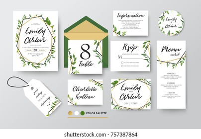 Wedding invite, menu, rsvp, thank you label save the date card Design with forest green leaves various greenery foliage, eucalyptus, fern & golden geometric frame. Vector rustic delicate chic layout