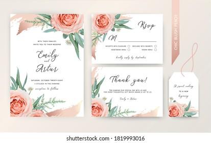 Wedding invite, rsvp, thank you card floral design. Blush peach Roses, white astrania flowers, green asparagus fern, eucalyptus leaves, cinnamon rose gold art brush stroke. Trendy elegant editable set