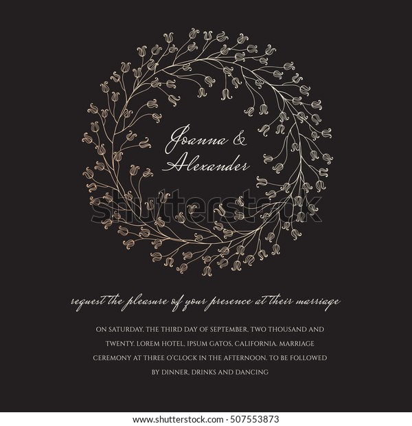 Wedding Invite Sample Floral Sparkling Wreath Stock Vector