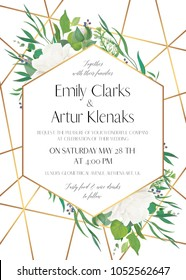 Wedding invite, save the date card delicate design with natural greenery eucalyptus leaves, white roses, berries & golden foil stripes, geometrical decoration. Elegant, lovely, luxury vector template