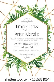 Wedding invite, save the date card design with natural forest greenery leaves, ferns, tropical palm leaves, berries & golden foil stripes, geometrical decoration. Elegant, woodsy style vector template