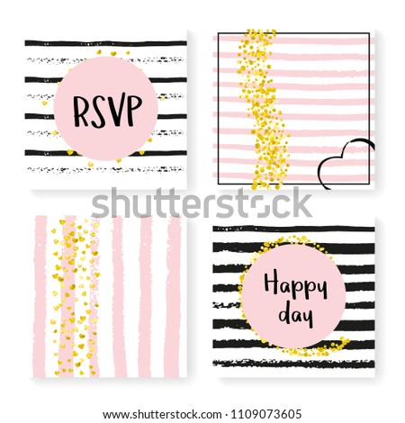 883755170 Gold hearts and dots on black and pink background. Design with wedding  invite set for party