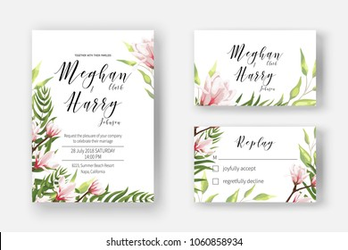 Wedding invite template with watercolor blooming magnolia, blossom branch of pink flowers, invite cards for marriage, rsvp reply with leaves, branch, greenery. Decorative design  in elegant style.