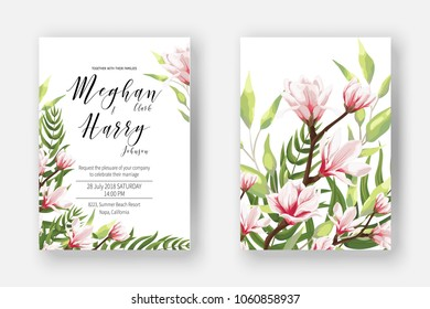 Wedding invite template with watercolor blooming magnolia, blossom branch of pink flowers with leaves, branch, greenery, fern. Invite cards for marriage. Decorative design elements in elegant style.