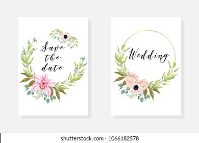 Wedding invite template with watercolor blooming orchid, blossom anemones, pink flowers with leaves, branch, greenery, fern. Invite set cards for marriage. Decorative design elements in elegant style.
